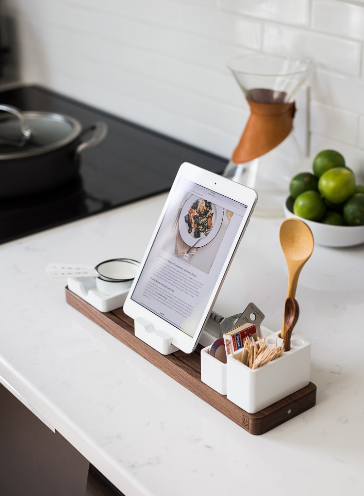 food blog opened on an ipad in a kitchen
